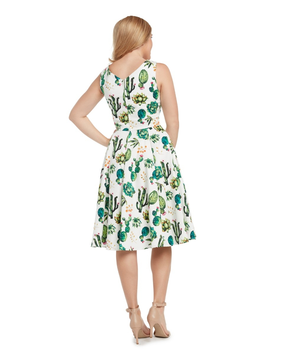 Eva Rose White And Red Rose Floral Print V-Neck Fit and Flare Dress With Pockets