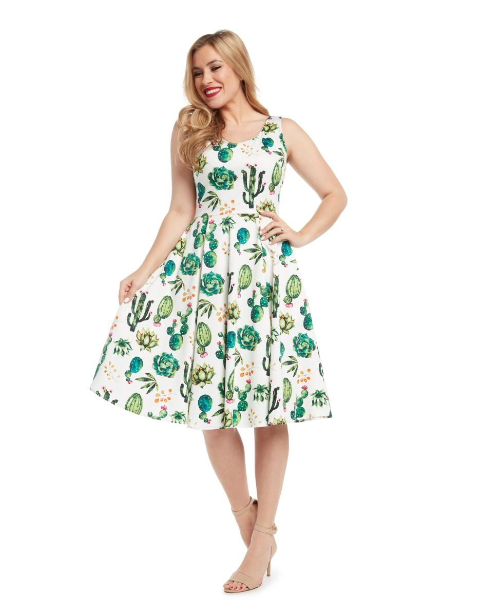 e13f20606b42 Fit & Flare Cactus PrintDress, V-Neck in Front & Back with Full ...
